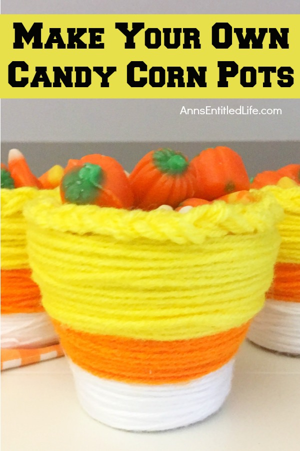 DIY Candy Corn Pots. These DIY Candy Corn Pots are simple to make. Dress up your pots for autumn or Halloween with this sweet candy corn decoration. Perfect for planting herbs in the fall for your kitchen window, or to hold candy corn candy, Halloween treats or nuts on a sideboard, mantel or end table, these do it yourself candy corn pots are a nice touch of whimsical fall décor.