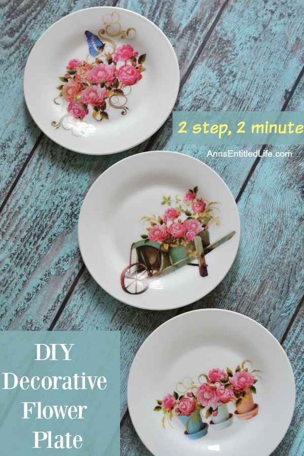 DIY Decorative Flower Plate. Make beautiful plate decor with this simple two step process. Easily customizable for any season, holiday, decor or space, this effortless two minute decorative plate craft is a great way to add charming custom decor to any living area!