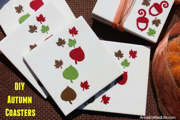 Easy DIY Autumn Coasters. These DIY Autumn coasters are simple to make. Instead of resin, they use a spray to form a heat resistant coating (to 500 degrees!) which seals and protects. Add a touch of fall decor to your living area with these easy to make autumn coasters.