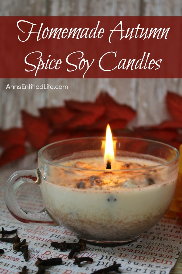Homemade Autumn Spice Soy Candles. Easily and inexpensively make your own Homemade Autumn Spice Soy Candles! These are great for gifts or to scent your own home during the fall and holiday season. These Homemade Autumn Spice Soy Candles are a fun DIY project that yields great results!
