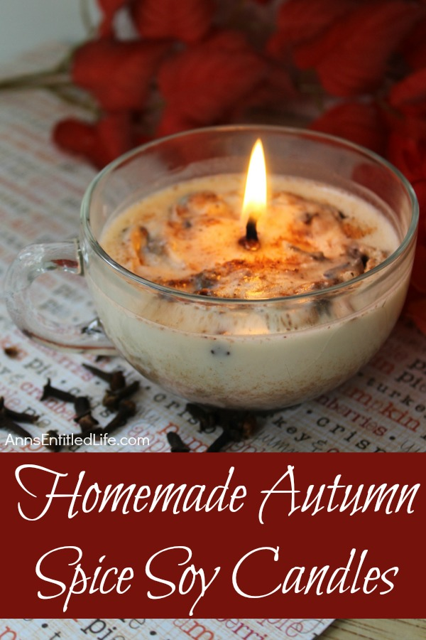 An overhead view of a lit homemade autumn spice candle in a clear teacup on a words sheet. There is red floral in the background.