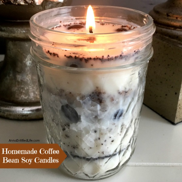 Homemade Coffee Bean Soy Candle. The wonderful scent of fresh coffee - in a candle! Easily and inexpensively make your own Homemade Coffee Bean Soy Candle with this step by step tutorial. Make a coffee bean candle for yourself or a few to give as gifts. This lovely coffee bean soy candle uses real coffee and no-build-up soy wax for a truly unique and fabulous soy candle.