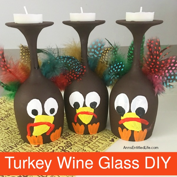 Turkey Wine Glass DIY. Make your own adorable Turkey Wine Glass. This easy step by step tutorial will show you how to easily make a wine glass turkey which is perfect for a centerpiece, mantel decor or table decorations this Thanksgiving! If you are looking for an adorable Thanksgiving craft project, this is it!