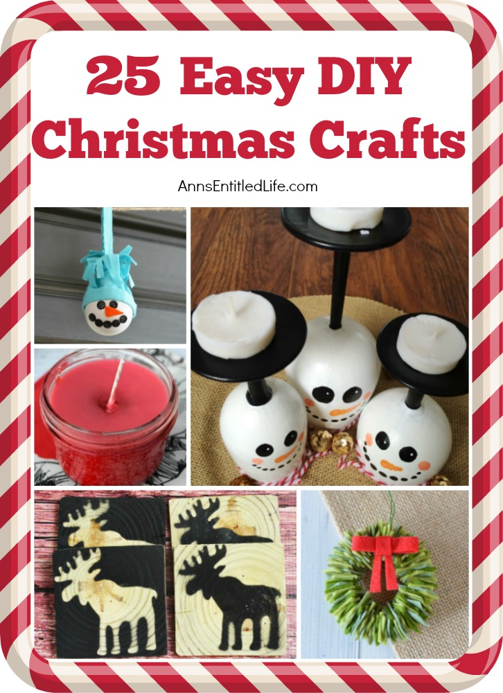 25 Easy DIY Christmas Crafts. Spruce up your holiday decor with these clever, yet simple to make, handmade Christmas crafts. From adorable ornaments and innovative tabletop decor, to festive soaps and fragrant candles, this list of easy Christmas crafts has something for everyone on your holiday list.