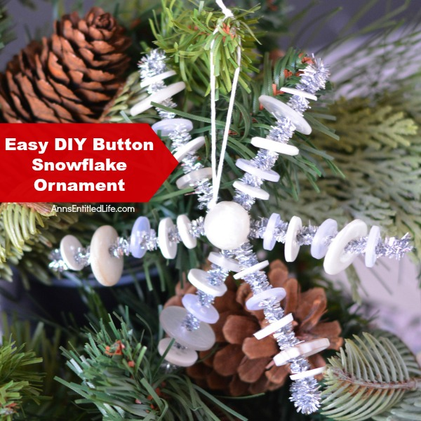 Easy DIY Button Snowflake Ornament. An Easy DIY Button Snowflake Ornament craft nearly anyone can make. This is a simple Christmas tree ornament to add to your handmade collection.