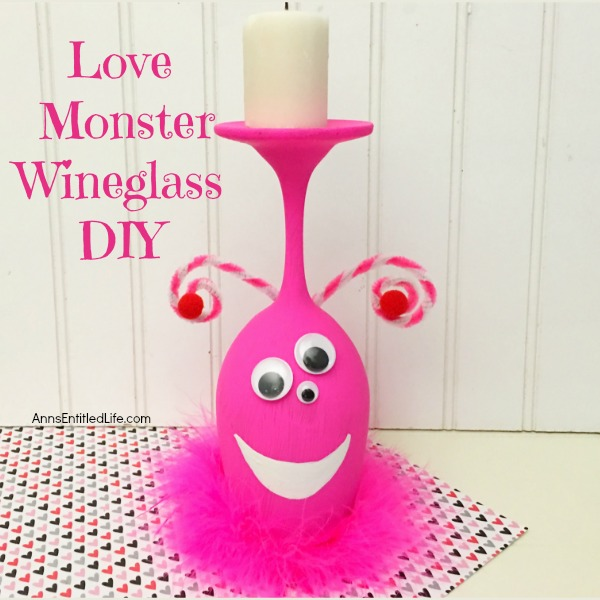 Love Monster Wineglass DIY. Make your own adorable Love Monster Wineglass. This easy step by step tutorial will show you how to easily make a cute and charming wineglass monster which is perfect for a centerpiece, mantel decor or table decorations on Valentine's Day or Halloween! If you are looking for an adorable craft project, this is it!