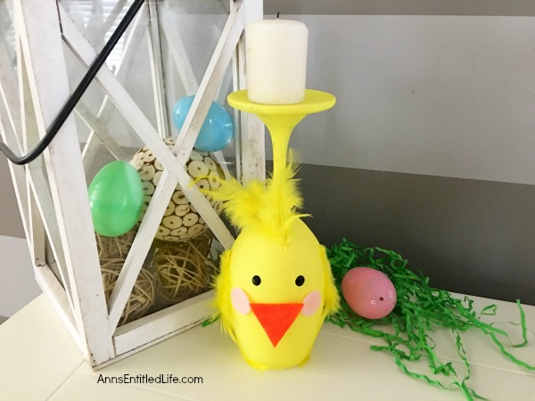Yellow Chick Wineglass DIY. Make your own adorable Yellow Chick Wineglass. This easy step by step tutorial will show you how to easily make a sweet wineglass chickie which is perfect for a centerpiece, mantel decor or table decorations this Easter or spring! This is an easy to make, delightful spring craft project.