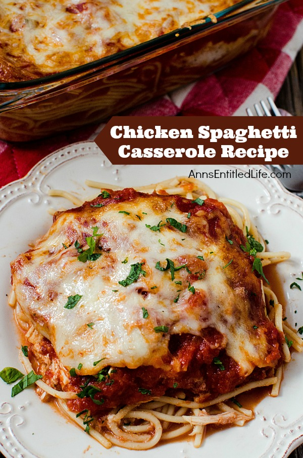 Chicken Spaghetti Casserole. This Chicken Spaghetti Casserole recipe is a wonderful supper dish your entire family will love. Whether you call it a pasta bake recipe, a chicken pasta bake or a chicken spaghetti casserole, just know this easy dinner recipe is destined to be a family favorite. Yum!