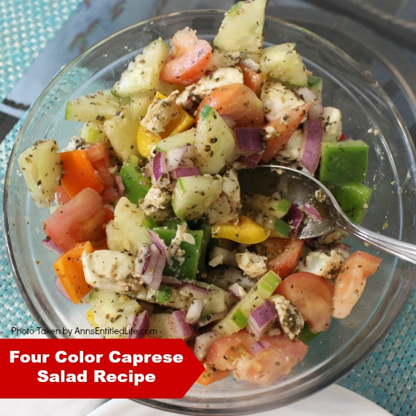 Four Color Caprese Salad Recipe. A lovely, crunchy, tasty take on a traditional Caprese Salad, this Four Color Caprese Salad Recipe is a wonderful side dish with seafood, chicken, pork and more! Simple to make, this Four Color Caprese Salad Recipe is loaded with fresh, crispy, delicious Florida vegetables. Yum!