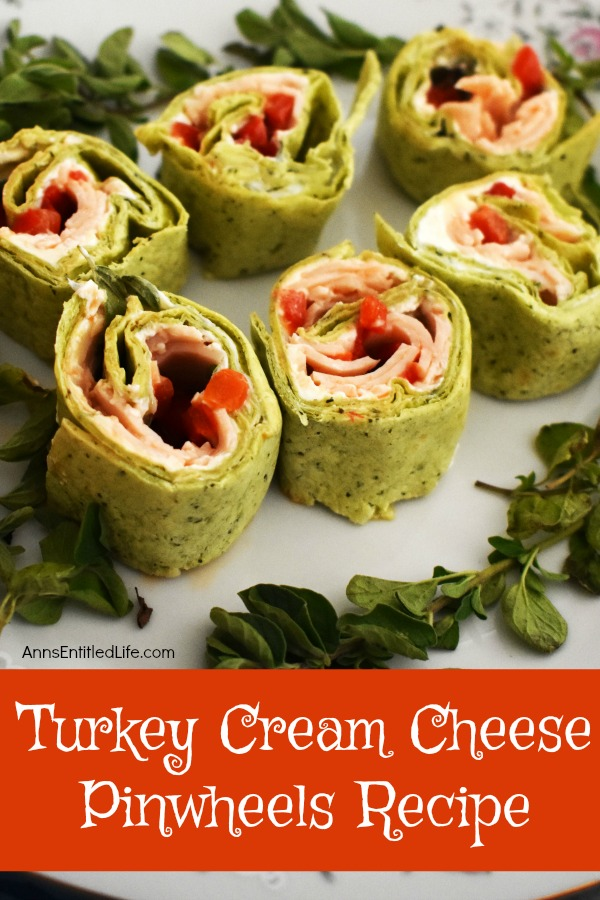 Turkey Cream Cheese Pinwheels Recipe. Whether served as an appetizer or as a lunch entree, these tasty pinwheels really hit the spot. A colorful and unique update to the classic pinwheel recipe, these turkey cream cheese pinwheels are bursting with flavor. The next time you are looking for an easy to make finger food give these creamy delights a try!