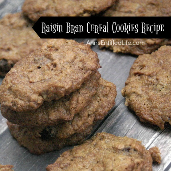 Raisin Bran Cereal Cookies Recipe. If you like raisin bran you will love these unique and easy to make Raisin Bran Cereal Cookies. Crispy on the outside, soft on the inside, these cookies are filled with the sweet taste of raisins!