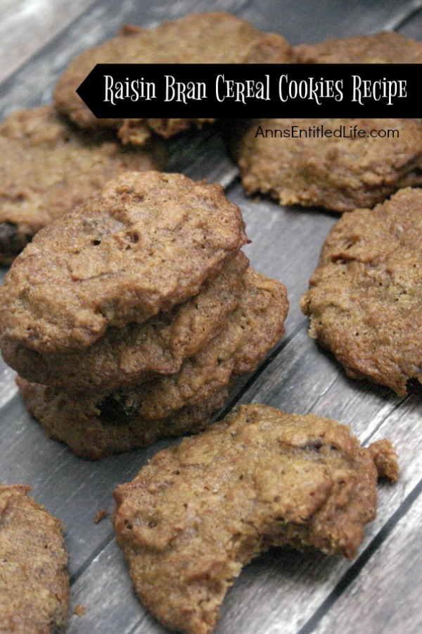 Raisin Bran Cereal Cookies Recipe. If you like raisin bran you will love these unique and easy to make Raisin Bran Cereal Cookies. Dark and crispy on the outside, soft on the inside, these cookies are filled with the sweet taste of raisins!