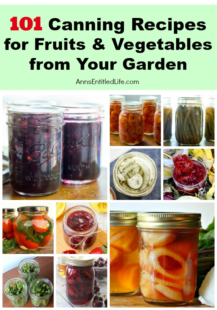 A vertical image of canned fruits and vegetables: top row: blueberry pie filling, carrots, green beans, garlic, beets, below that tomatoes, raspberry jam, onions, asparagus, and moonshine cherries