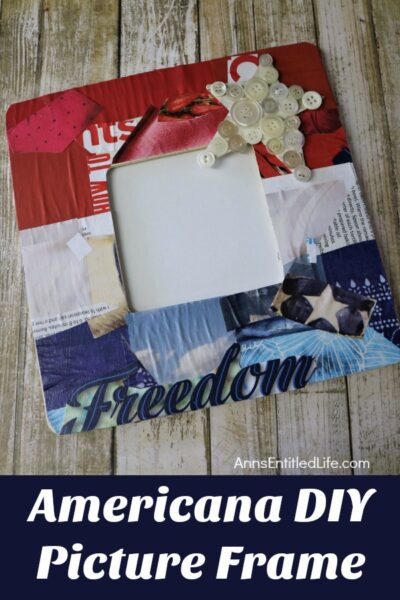 "Americana DIY Picture Frame. Looking for a cute Americana themed craft to display for Independence Day? This do-it-yourself picture frame is inexpensive and a very easy craft to make. It takes about an hour of your time from beginning to end to produce this ""patriotic"" frame. Follow this step by step tutorial, and in no time you will have a wonderful Americana picture frame for display!"