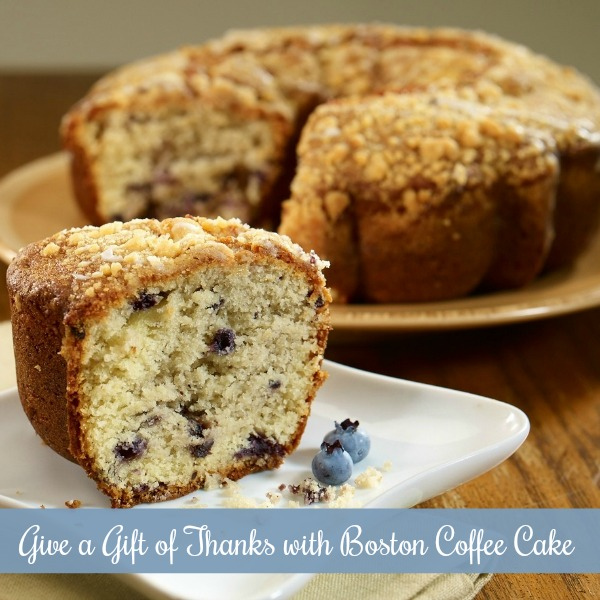 Give a Gift of Thanks with Boston Coffee Cake. Looking for a different way to say thank you? Knowing when and how to thank someone is not as easy as it may seem. People are often uncertain what type of thank you gift is appropriate. Whether you are looking for a special way to say thank you, need a gift for a housewarming, or would simply like to show appreciation for a kindness done, a Boston Coffee Cake is the perfect way to express your gratitude.