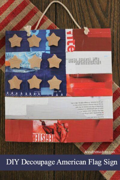 DIY Decoupage American Flag Sign