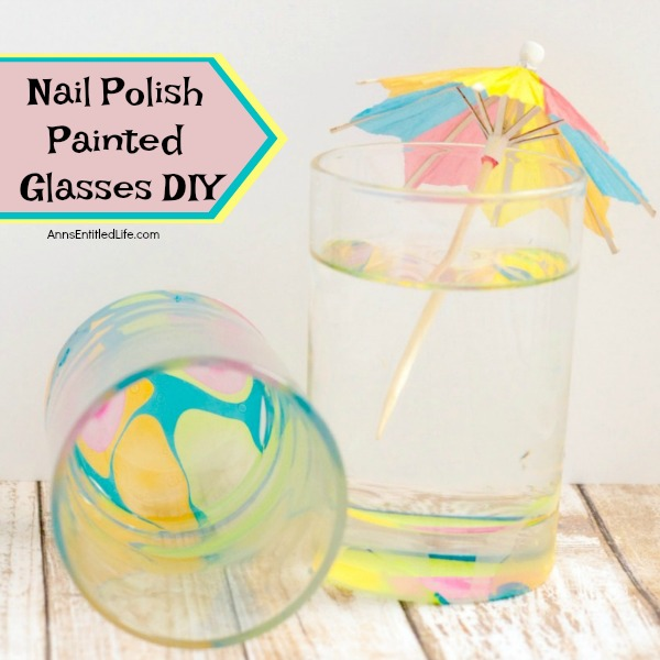 Nail Polish Painted Glasses DIY. These nail polish painted glasses are fun and easy to make. Since they are so unique, they make the perfect talking piece or a wonderful gift! Make a set and pair with a bottle of wine or liquor to give as a special birthday present, shower gift or housewarming gift! These interesting nail polish designs will be a popular gift with everyone.