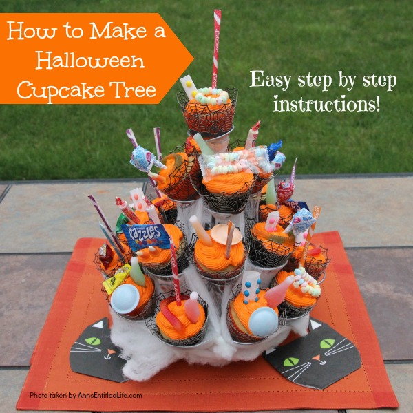 How to Make a Halloween Cupcake Tree. This simple step by step tutorial will help you put together this wonderful Halloween sweet display. Highly customizable to match your Halloween theme, this cupcake tree will be a big hit at your Halloween party!