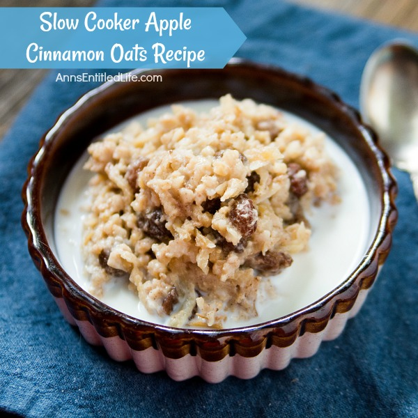 Slow Cooker Apple Cinnamon Oats Recipe. Wake up to delicious steel cut oats for breakfast with this fabulous slow cooker apple cinnamon oats recipe. Your whole family will love this great tasting, hearty morning meal.