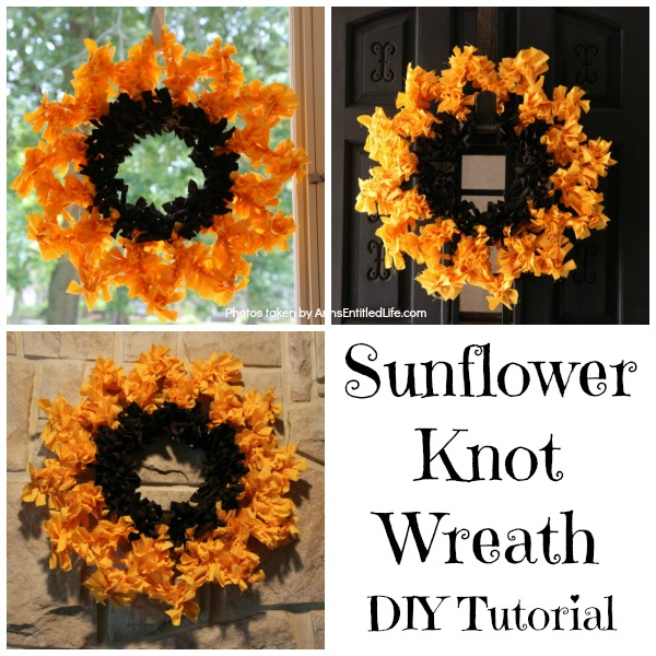 Sunflower Knot Wreath. This DIY tutorial on how to make a sunflower knot wreath has easy to follow, step-by-step instructions. An hour or so of your time results in this lovely sunflower knot wreath, perfect for your front door!