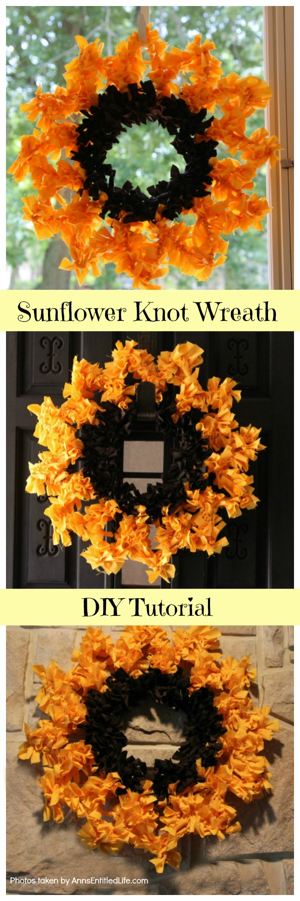 3 images of a sunflower wreath, the top image is against a screen door with a leaves in the background, middle image against a dark brown door, bottom image against a stone fireplace