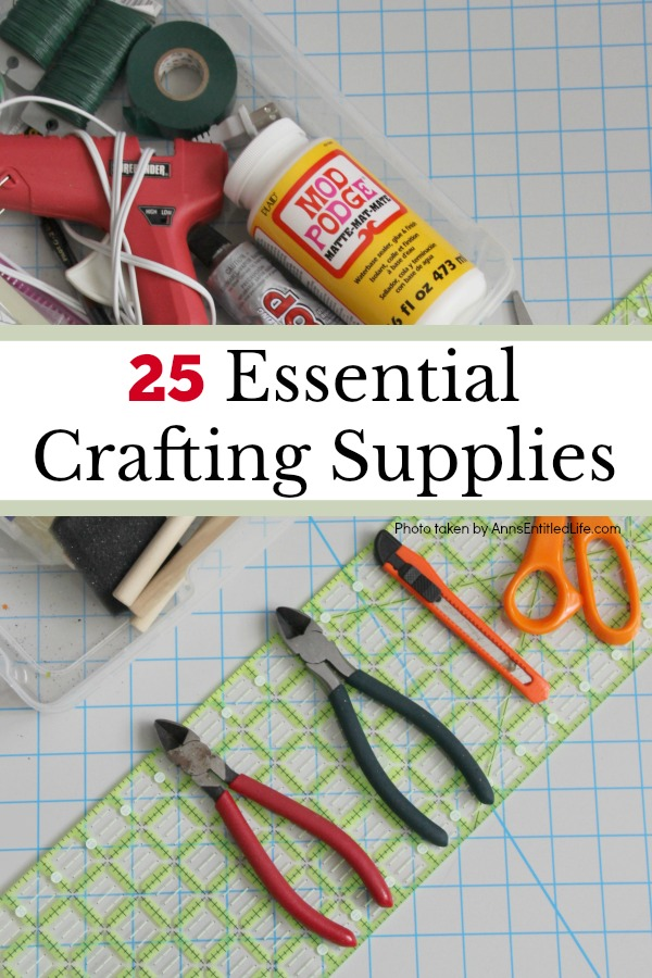 25 Essential Crafting Supplies. A list of indispensable, useful tools and products every crafter needs to have in their craft box. Whether you are just beginning to make your own crafts, are a special occasion crafter, or a crafting veteran, this list of must-haves crafting products are important to getting the crafting-job done!