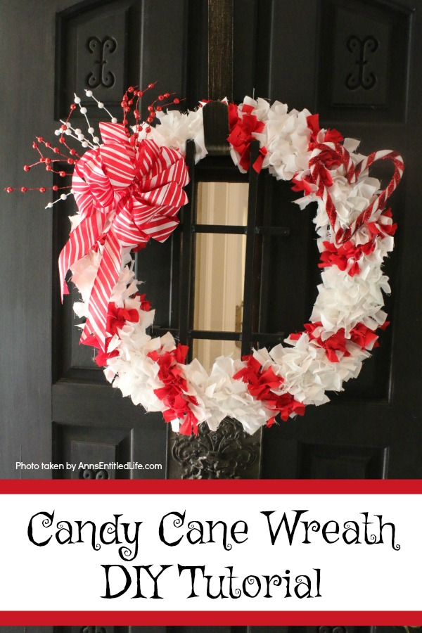 Candy Cane Wreath DIY Tutorial. Make your own no-sew Candy Cane wreath using these easy step by step instructions. This cute holiday decor is perfect for Christmas, Valentine's Day, or any day! Simple and inexpensive to make, this easy Candy Cane Wreath DIY Tutorial will show you how to add a marvelous touch of whimsy to your holiday decor.