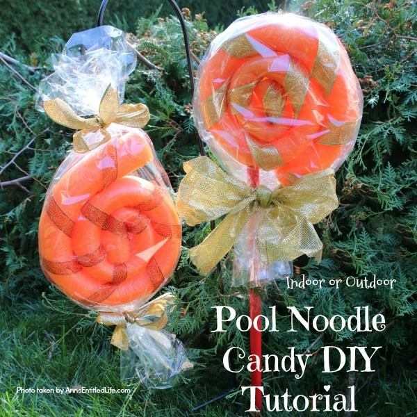 Pool Noodle Candy DIY Tutorial. This is a fast and easy to make 15 minute craft, perfect for indoor or outdoor holiday decorating. These low-cost pool noodle candy can be made in any color, so fully customizable to match your decorating theme!