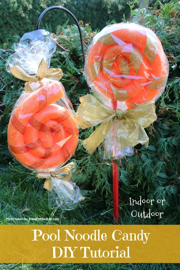 Pool Noodle Candy DIY Tutorial. This is a fast and easy to make 15 minute craft, perfect for indoor or outdoor holiday decorating. These low-cost pool noodle candy can be made in any color, so fully customizable to match your decorating color scheme!