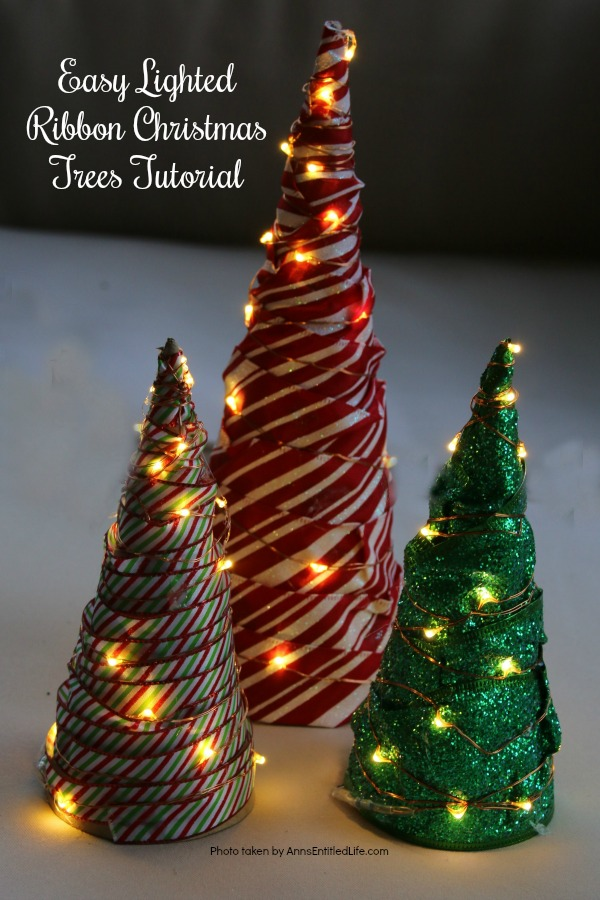 Easy Lighted Ribbon Christmas Tree. This 15-minute craft is simple to make, and highly customizable. This Easy Lighted Ribbon Christmas Tree will dress up your Christmas table, light up your mantel, or just smile as you walk by them. Only you will know how quick and easy these little trees are to put together.