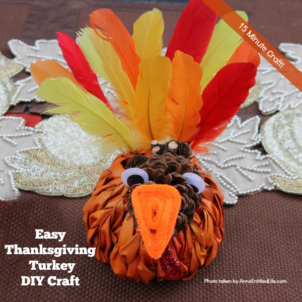 Easy Thanksgiving Turkey DIY Craft. This is a simple to make 15 minute craft for Thanksgiving. Adults and older children will love this adorable little turkey, perfect for tabletop or mantel decor. If you are looking for a simple Thanksgiving craft idea, this easy Thanksgiving turkey DIY craft is it!