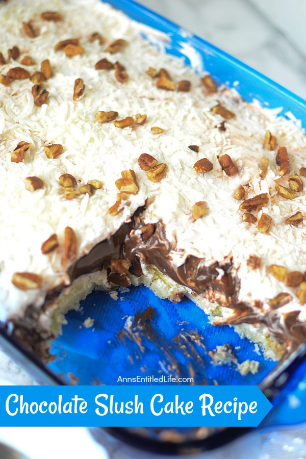 Chocolate Slush Cake Recipe. Rich, cool, creamy, and decadent, this chocolate slush cake is a great dessert to serve family and friends any time of the year. This is a delicious layered pudding cake that simply melts in your mouth.