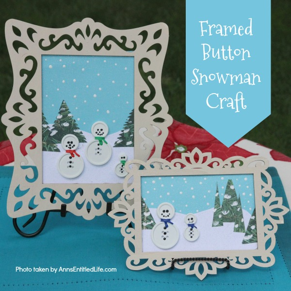 Framed Button Snowman Craft. These easy to make little button snowmen are adorable winter crafts that can be made in no time flat! These are great little winter frame decor. You can place them on an easel or hang them on a wall for display.