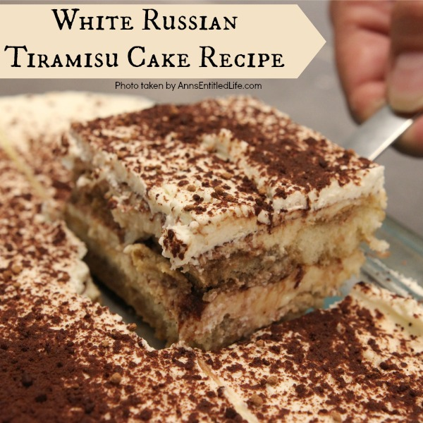 White Russian Tiramisu Cake Recipe. This no-egg, no-cooking, tiramisu recipe comes together quickly. It can be served immediately, or made the day before your special event or dinner. The melt-in-your mouth creamy, rich, coffee-cocoa goodness of this white Russian tiramisu will have your friends and family asking for seconds!