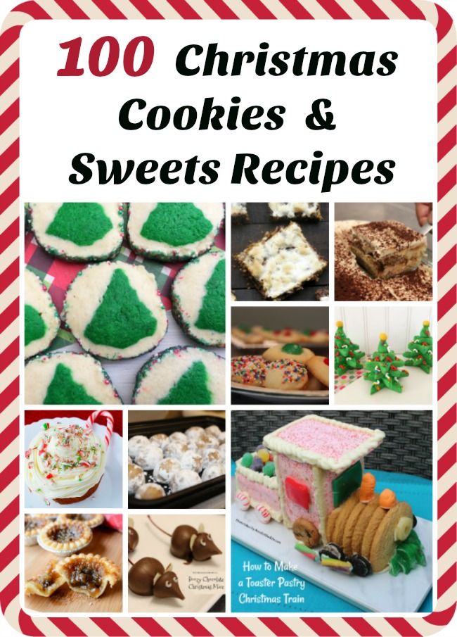 100 Christmas Cookies and Sweets Recipes. Here is a great list of 100 Christmas Cookies and Christmas Sweets recipes which are perfect for a holiday party, Christmas dessert, or even a cookie exchange! There is a delicious dessert recipe on this list just waiting to be served at your holiday function, so be sure to check out this long list of holiday treats.