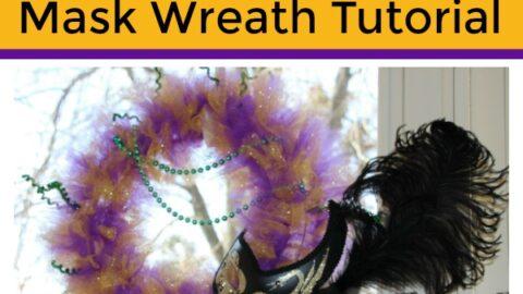 Glitter Mardi Gras Mask Wreath Tutorial