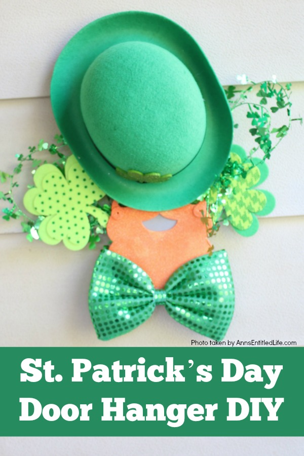 a green bowler sits atop a red beard under which is a green bow tie. There are shamrock decorations behind the door hanhger