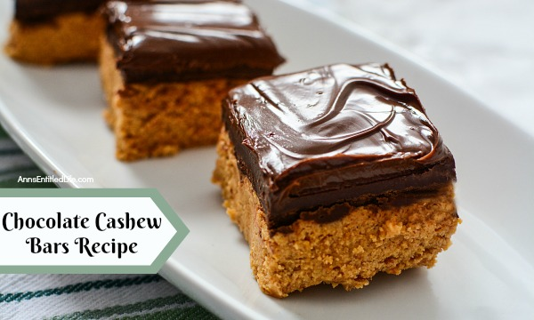 Chocolate Cashew Bars. A delicious, satisfying, chocolate cashew bar that holds up for days after you make them. These taste like chocolate bars, and are amazingly good! Cut them thick or thin, they are a great lunch-box, or anytime, snack.