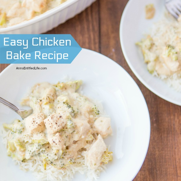 Easy Chicken Bake Recipe. This chicken bake recipe is so easy to make and totally delicious. Leftovers hold up, and this Easy Chicken Bake goes a long way when served with white rice. Easy, economical and tasty comfort food.