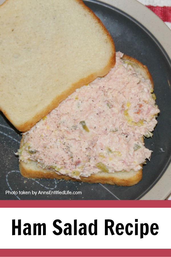 ham salad on white bread on a gray plate on top of red and white dishtowel