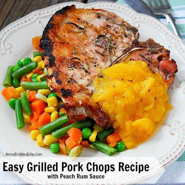 Easy Grilled Pork Chops Recipe with Peach Rum Sauce. Looking for a simple, delicious summer pork chops recipe? This easy grilled pork chops recipe comes with a side of delicious peach rum sauce. The pairing is divine. So up your grilling game with this easy pork chops recipe for dinner tonight! Yum.