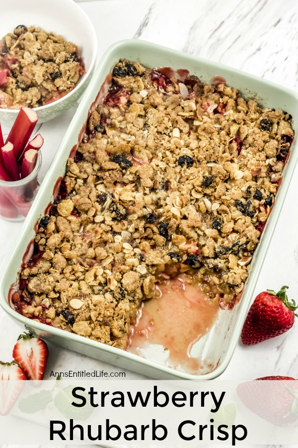 a pan filled with strawberry rhubarb crisp