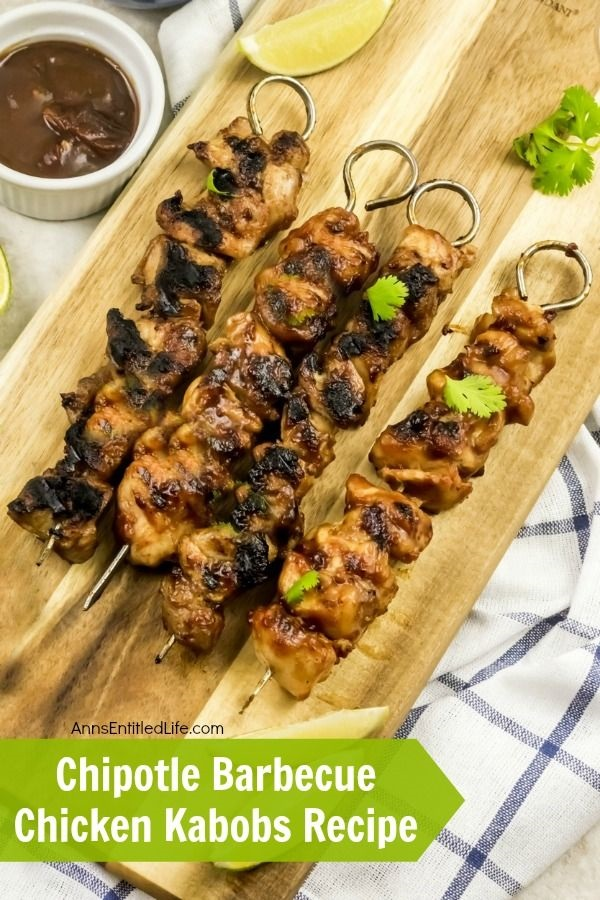 Chipotle Barbecue Chicken Kabobs Recipe. Kebabs, Kabobs, or Skewers - whatever you call this delicious Barbecue Chicken recipe it will soon become one of your favorite summer grilling recipes!  Simple to make, this mouthwatering Chipotle Barbecue Chicken Kabobs recipe also comes with instructions for grill pan, outdoor grill, and oven cooking methods. Spice up your dinner menu and give this fabulous recipe a try tonight!