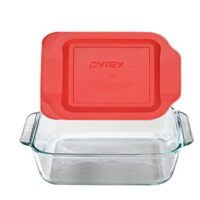 "Pyrex 8"" Square Baking Dish with Red Plastic Lid"