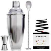 24 Ounce Cocktail Shaker Bar Set Accessories - Martini Kit with Measuring Jigger and Mixing Spoon plus Drink Recipes Booklet - Stainless Steel Tool Built-in Bartender Strainer