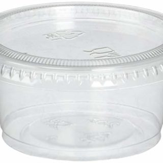 Reditainer Plastic Disposable Portion Cups Souffle Cup with Lids, 2-Ounce, 100-Pack
