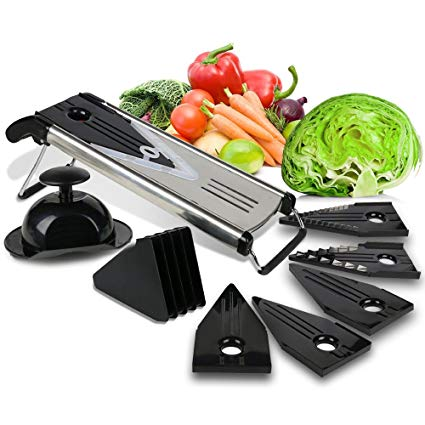 Premium Mandoline Fruit & Vegetable Cutter for Home and Business-Cheese Grater, Potato Slicer | Vegetable Chopper: Includes 5 Inserts (Black), Blade Guard, Finger Guard | Free Recipe E-Books