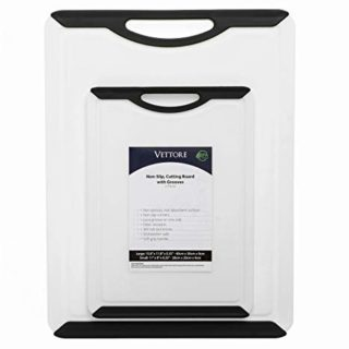 Vettore Non Slip Poly Cutting Boards With Juice Groove Dishwasher Safe BPA Free Plastic FDA Approved Rubber Feet (2 Piece Set, Black)
