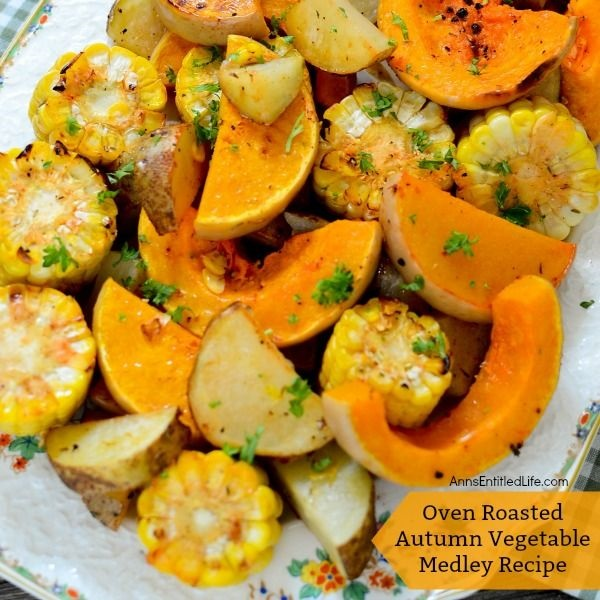 Oven Roasted Autumn Vegetable Medley Recipe. This terrific sheet pan oven roasted autumn vegetable medley recipe makes great use of in-season fall vegetables. Easy to make, this sheet pan veggie recipe is the perfect side dish for pork, chicken, turkey, and more! Your family will love this delicious roasted vegetable medley recipe. Yum!