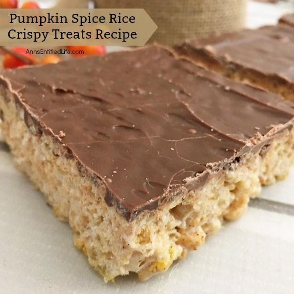 Pumpkin Spice Rice Crispy Treats Recipe. Sometimes a subtle change makes all the difference! A new take on an old recipe, this fabulous pumpkin spice rice crispy treats recipe is wonderful fall snack. Make a batch to pack in a lunchbox, to take for tailgating treat, or as a great evening snack with a cup of apple cider. Simply delicious.